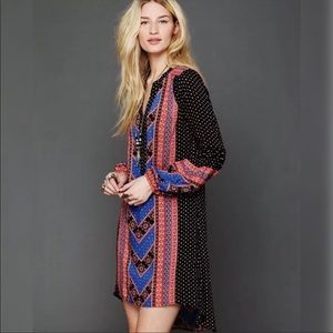 Free People Peacemaker Boho mixed Print Dress S